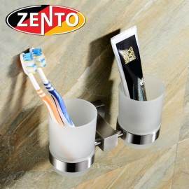 2 cốc thủy tinh kèm kệ đỡ inox304  Zento HC1272